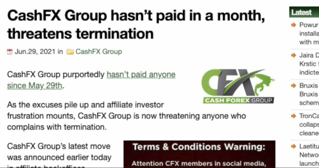 CashFX was exposed for not paying anyone in a month. Photo: YouTube.